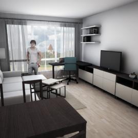 Byt mladého muže – obývací pokoj